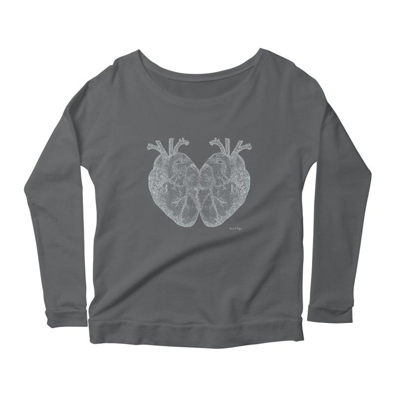 Heart to Heart WHITE - One Continuous Line Women's Longsleeve Scoopneck  by Daniel Dugan's Artist Shop