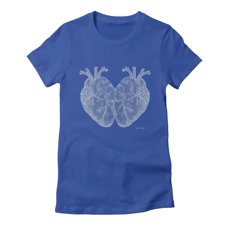 Heart to Heart WHITE - One Continuous Line Women's Fitted T-Shirt by Daniel Dugan's Artist Shop