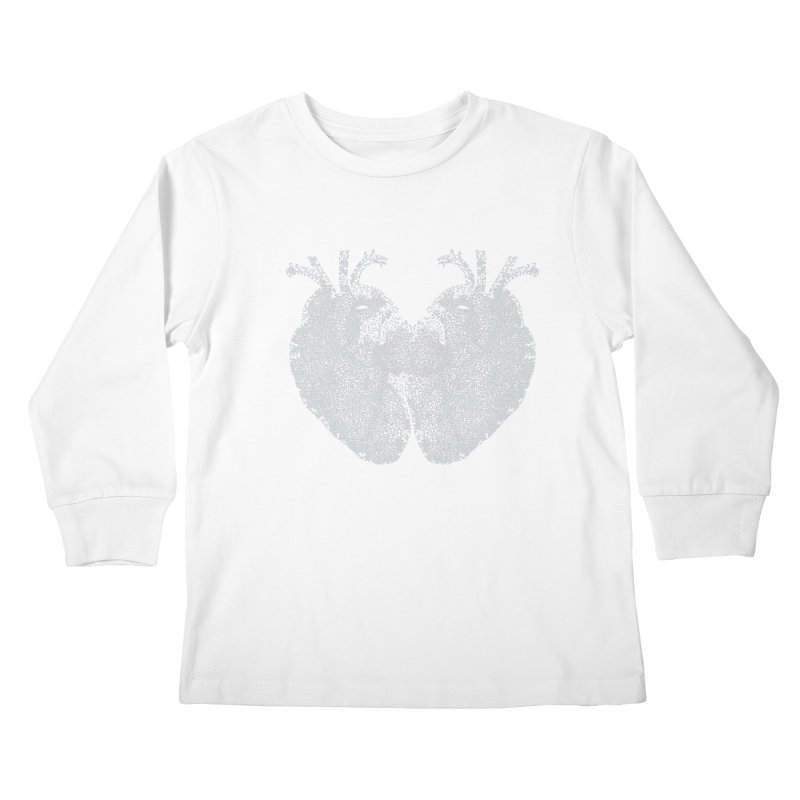 Heart to Heart WHITE - One Continuous Line Kids Longsleeve T-Shirt by Daniel Dugan's Artist Shop