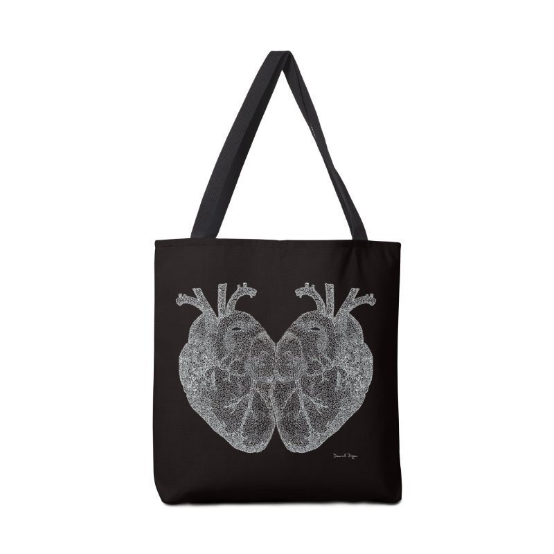 Heart to Heart WHITE - One Continuous Line Accessories Bag by Daniel Dugan's Artist Shop
