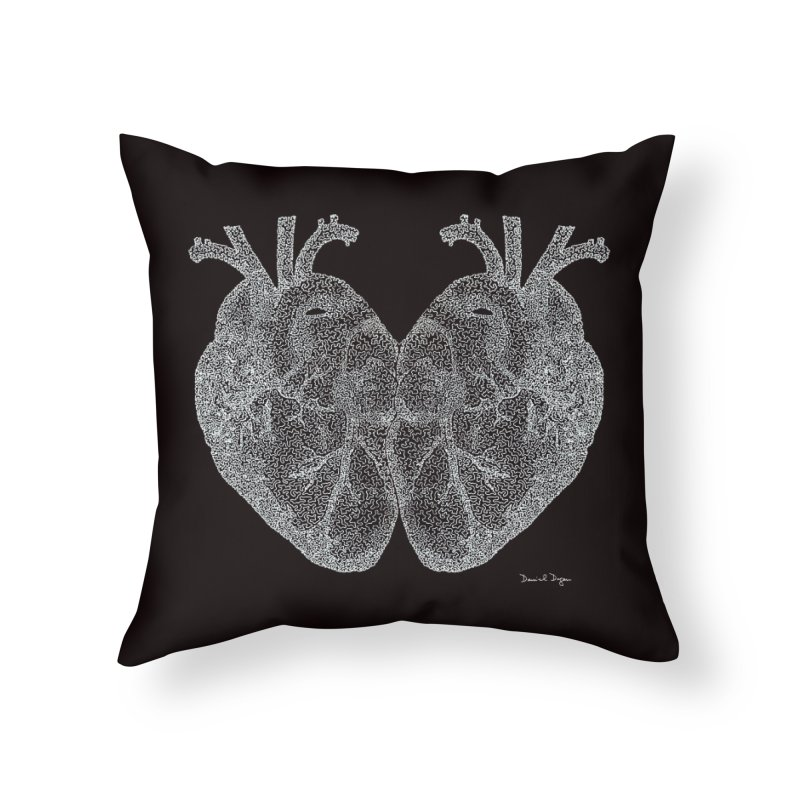 Heart to Heart WHITE - One Continuous Line Home Throw Pillow by Daniel Dugan's Artist Shop
