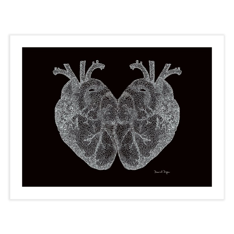 Heart to Heart WHITE - One Continuous Line Home Fine Art Print by Daniel Dugan's Artist Shop