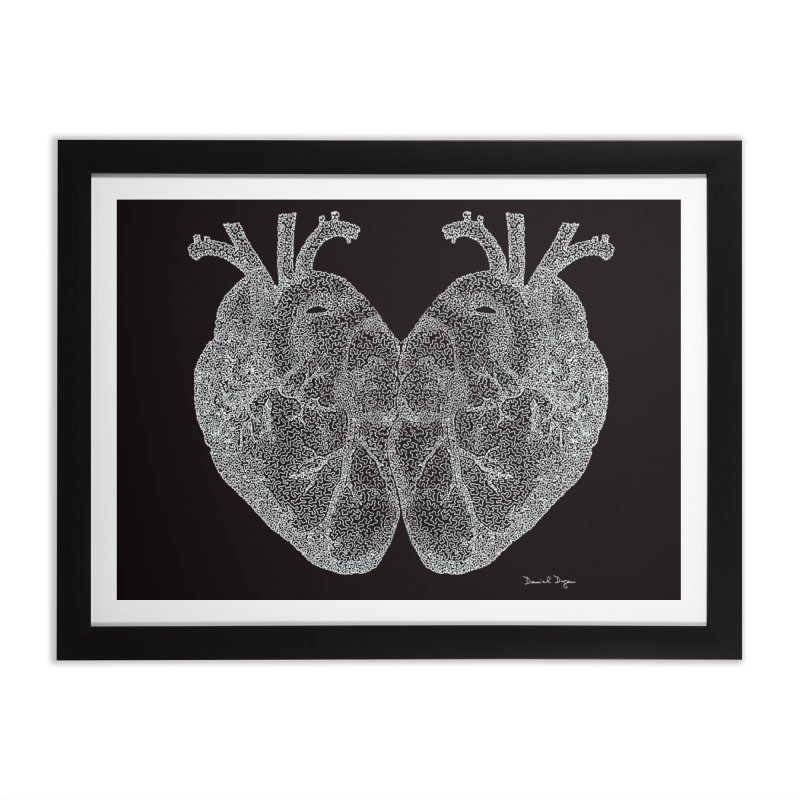 Heart to Heart WHITE - One Continuous Line Home Framed Fine Art Print by Daniel Dugan's Artist Shop