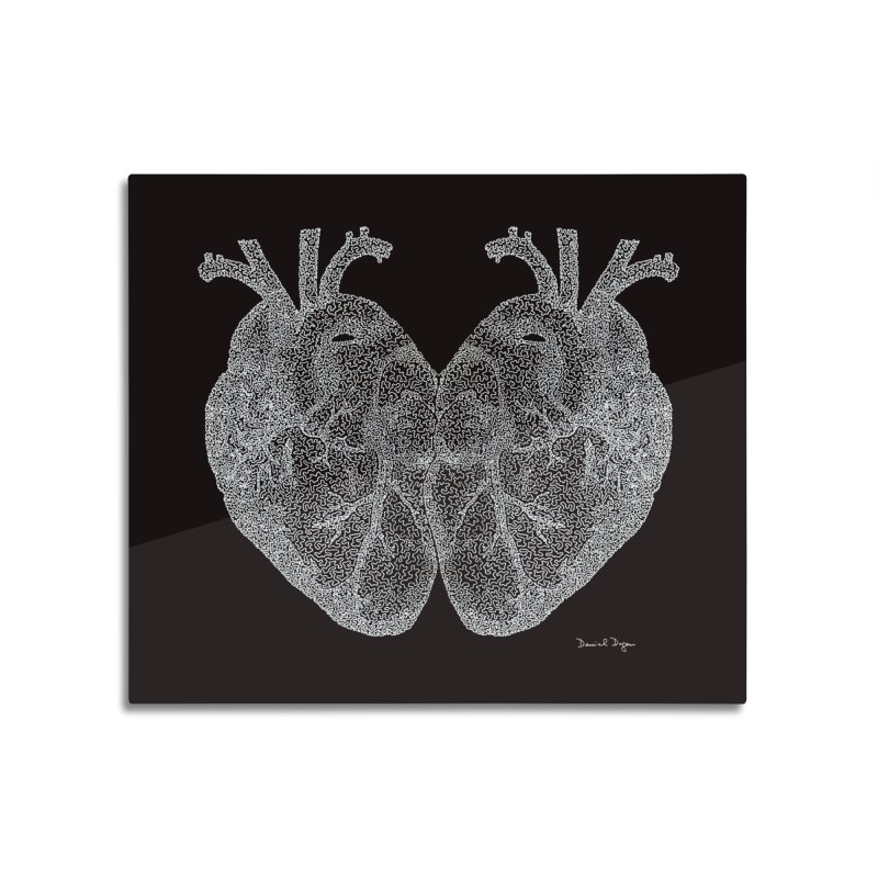 Heart to Heart WHITE - One Continuous Line Home Mounted Aluminum Print by Daniel Dugan's Artist Shop