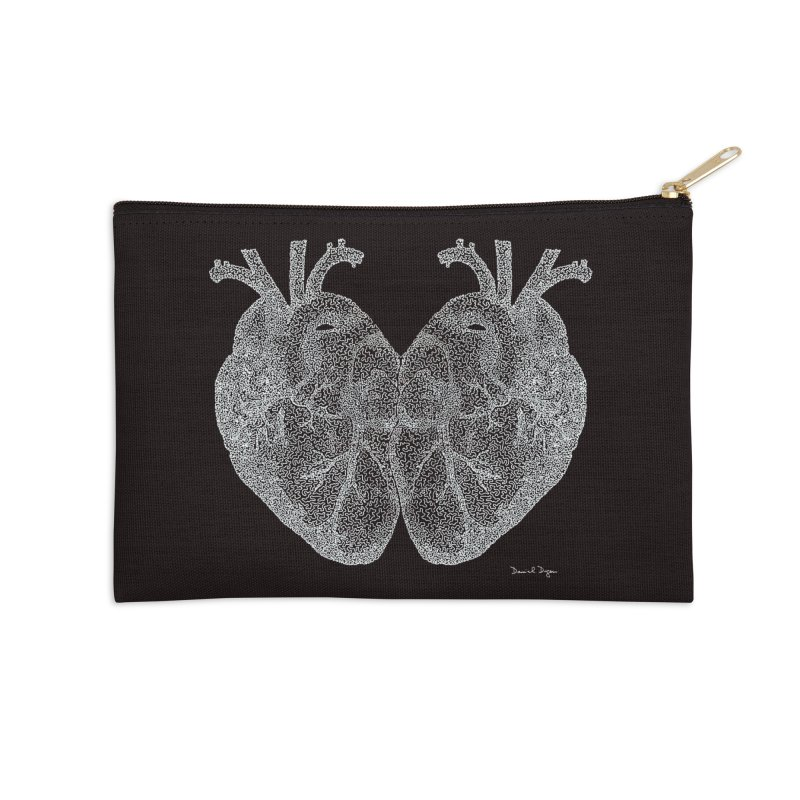 Heart to Heart WHITE - One Continuous Line Accessories Zip Pouch by Daniel Dugan's Artist Shop