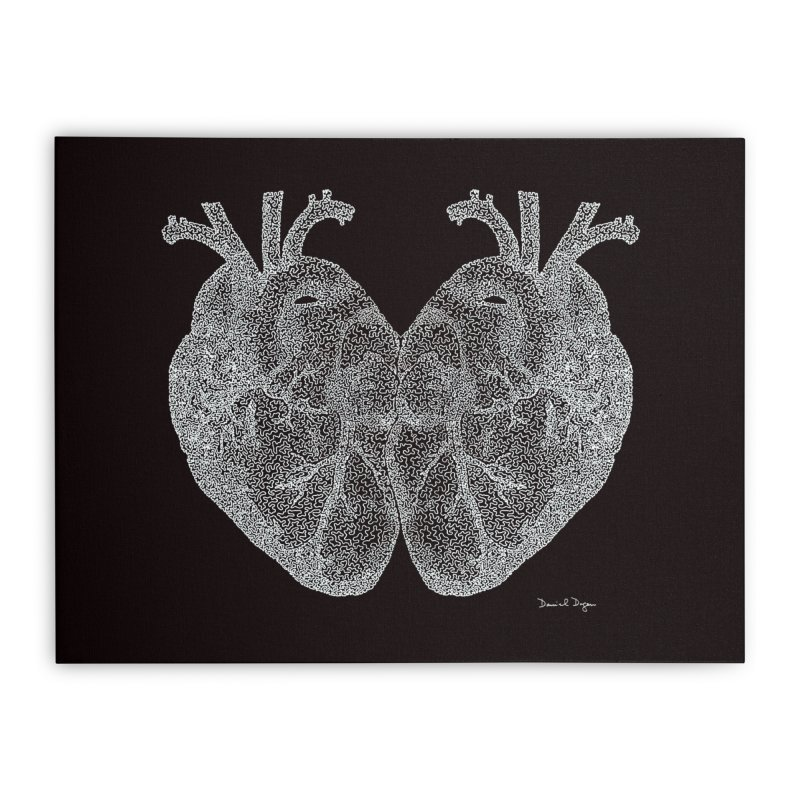 Heart to Heart WHITE - One Continuous Line Home Stretched Canvas by Daniel Dugan's Artist Shop