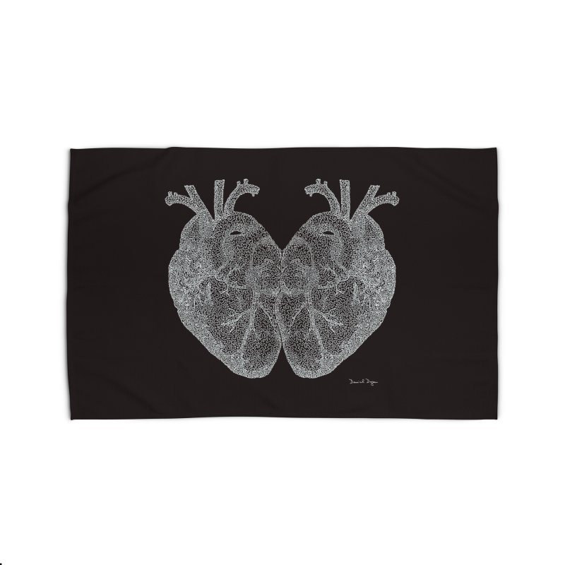 Heart to Heart WHITE - One Continuous Line Home Rug by Daniel Dugan's Artist Shop