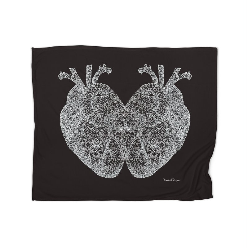 Heart to Heart WHITE - One Continuous Line Home Blanket by Daniel Dugan's Artist Shop