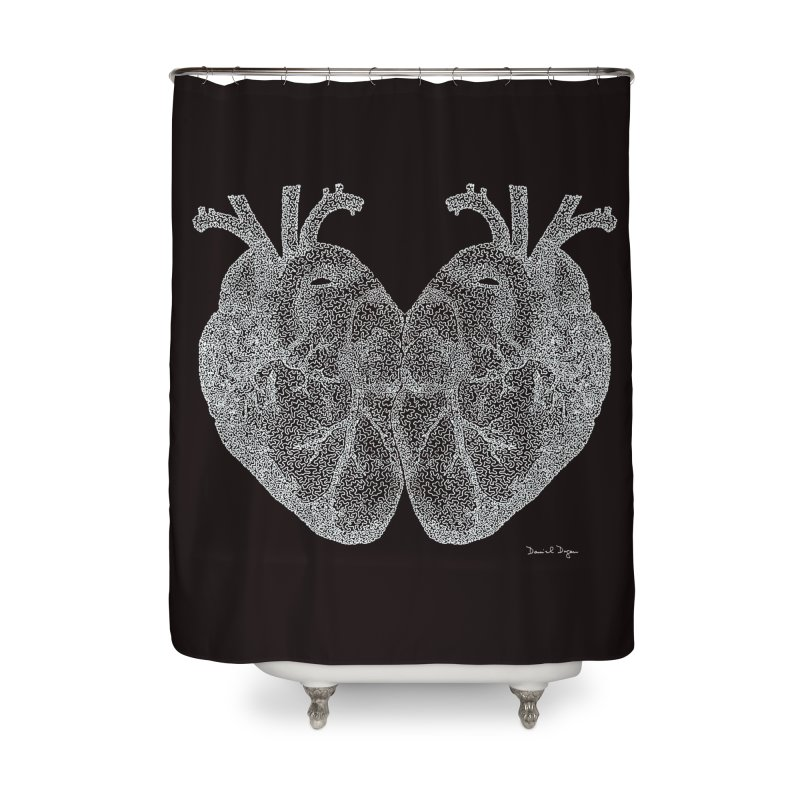 Heart to Heart WHITE - One Continuous Line Home Shower Curtain by Daniel Dugan's Artist Shop