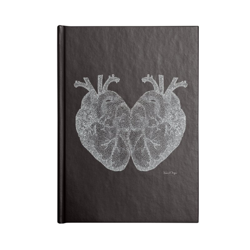 Heart to Heart WHITE - One Continuous Line Accessories Notebook by Daniel Dugan's Artist Shop