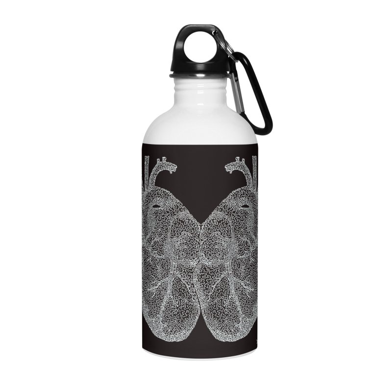 Heart to Heart WHITE - One Continuous Line Accessories Water Bottle by Daniel Dugan's Artist Shop