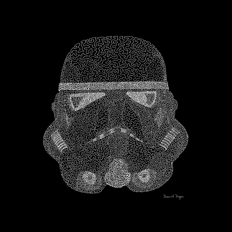 Trooper WHITE - One Continuous Line None  by Daniel Dugan's Artist Shop