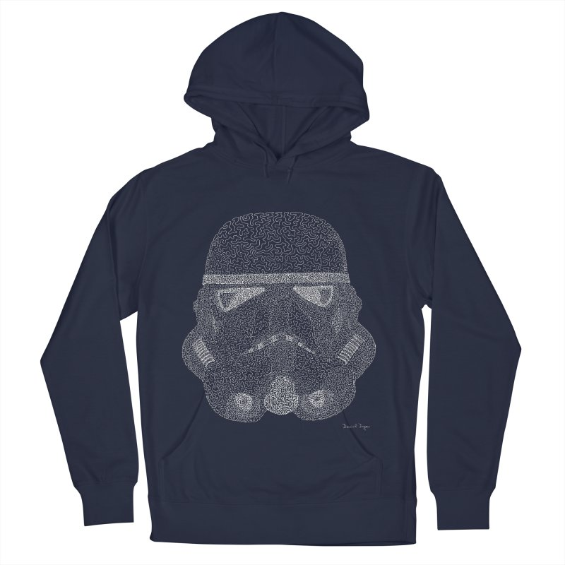 Trooper WHITE - One Continuous Line Men's Pullover Hoody by Daniel Dugan's Artist Shop
