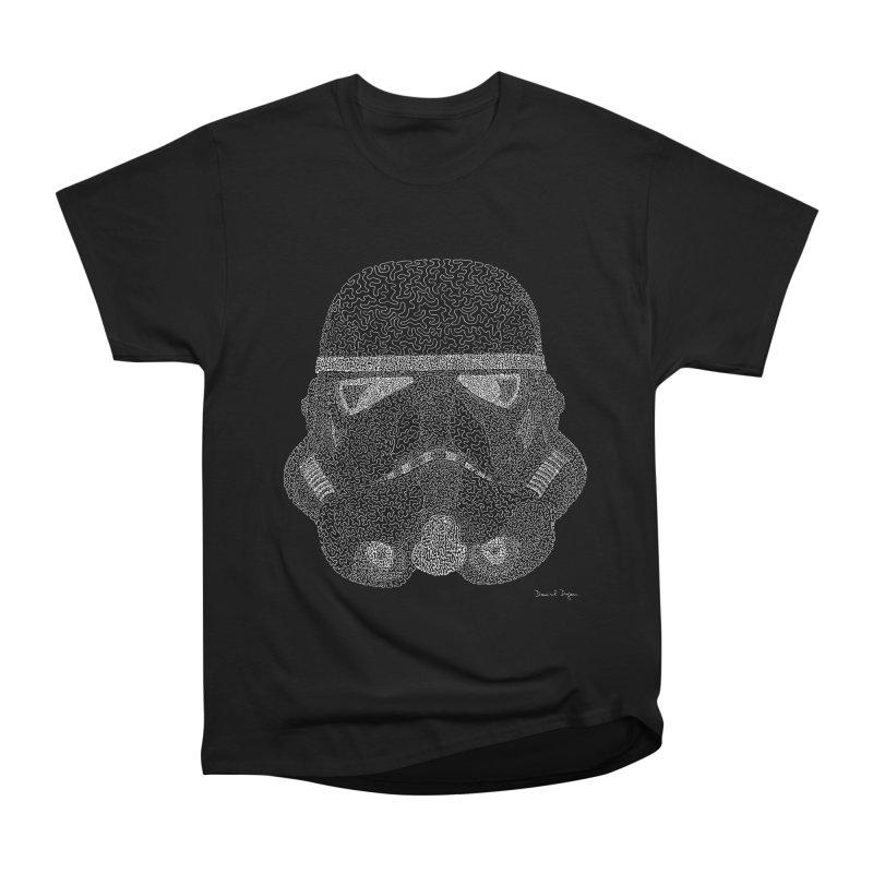 Trooper WHITE - One Continuous Line Women's Heavyweight Unisex T-Shirt by Daniel Dugan's Artist Shop