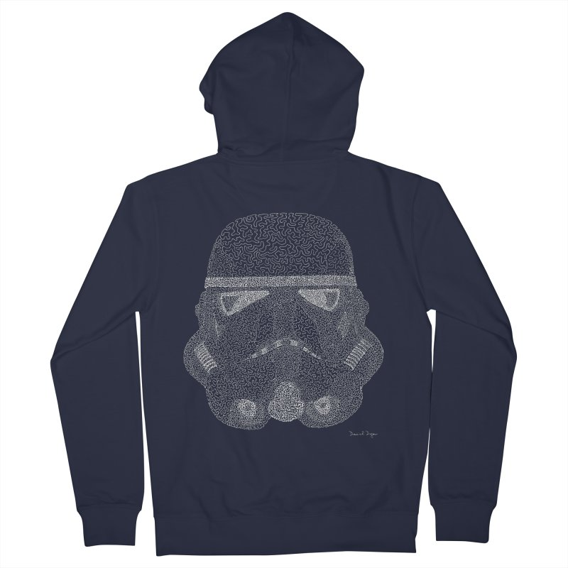 Trooper WHITE - One Continuous Line Men's French Terry Zip-Up Hoody by Daniel Dugan's Artist Shop