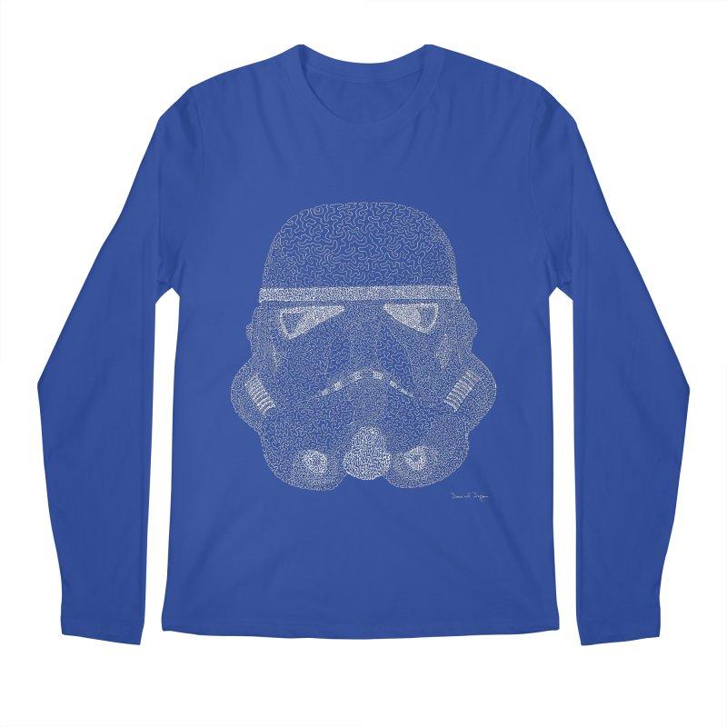 Trooper WHITE - One Continuous Line Men's Longsleeve T-Shirt by Daniel Dugan's Artist Shop