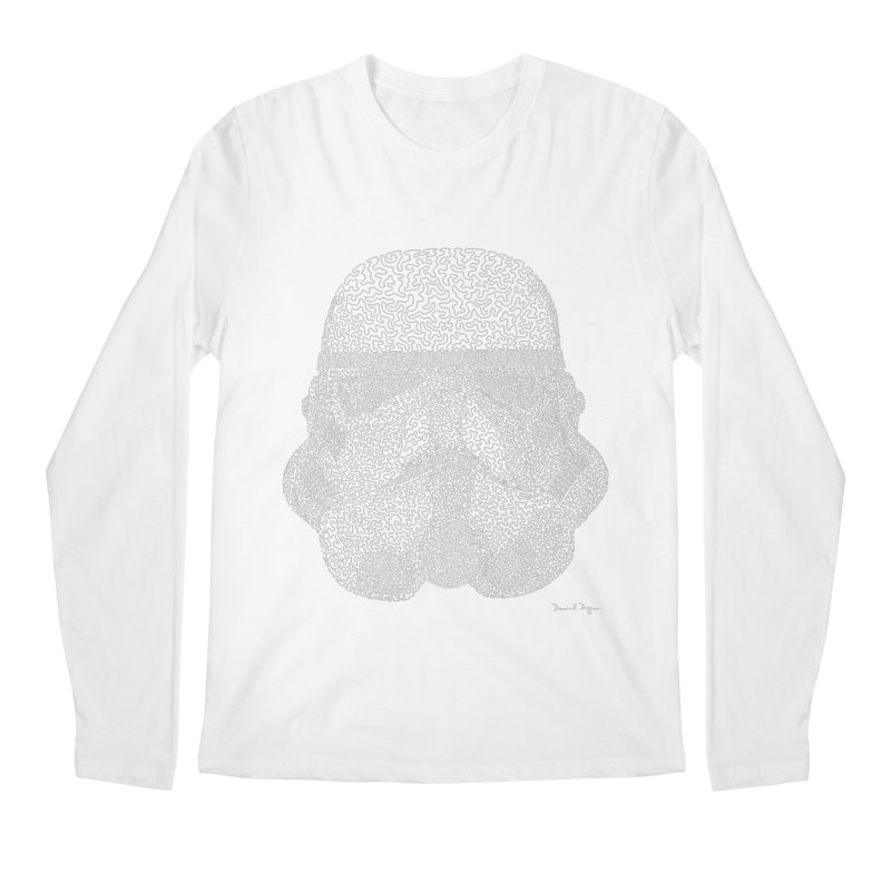 Trooper WHITE - One Continuous Line Men's Regular Longsleeve T-Shirt by Daniel Dugan's Artist Shop