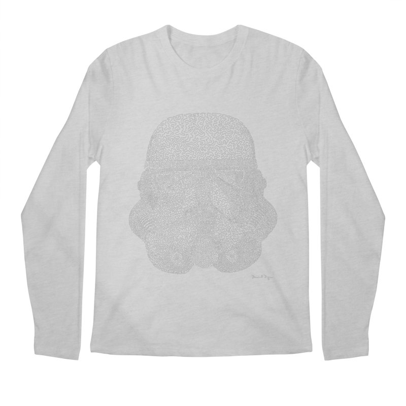 Trooper WHITE - One Continuous Line Men's Longsleeve T-Shirt by Daniel Dugan's Artist Shop