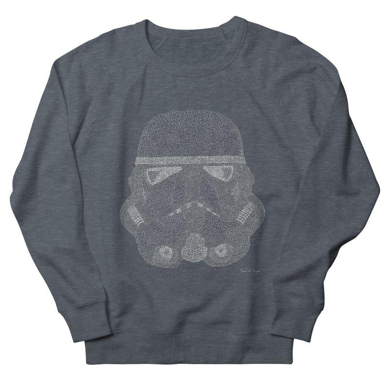 Trooper WHITE - One Continuous Line Men's French Terry Sweatshirt by Daniel Dugan's Artist Shop