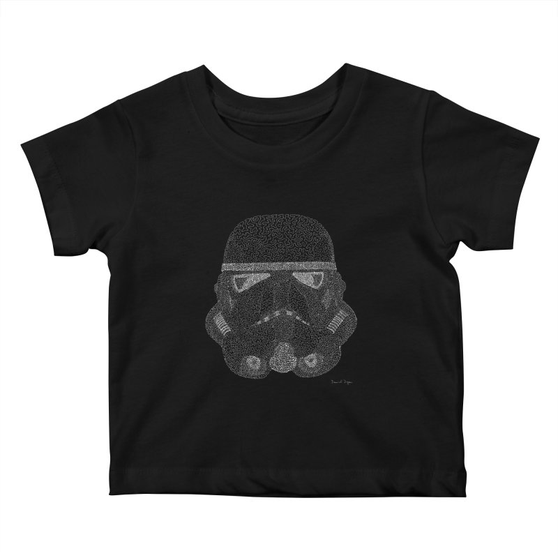 Trooper WHITE - One Continuous Line Kids Baby T-Shirt by Daniel Dugan's Artist Shop
