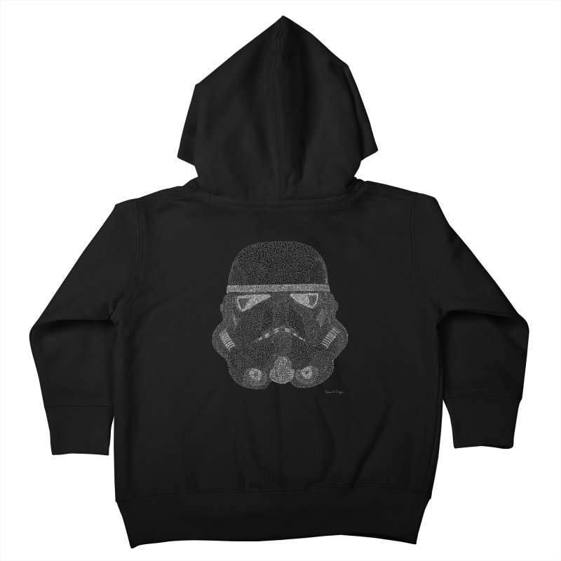 Trooper WHITE - One Continuous Line Kids Toddler Zip-Up Hoody by Daniel Dugan's Artist Shop