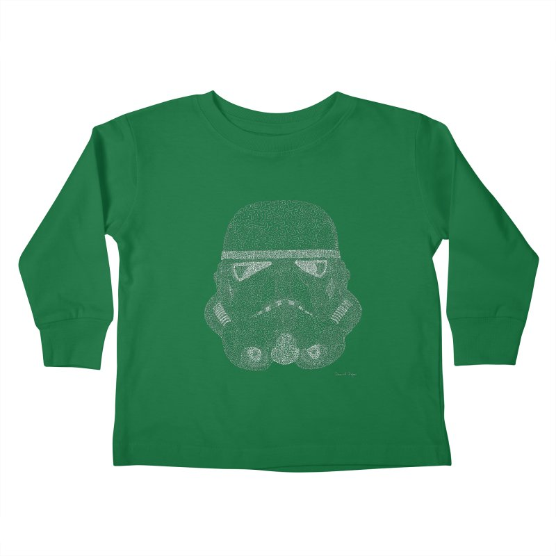 Trooper WHITE - One Continuous Line Kids Toddler Longsleeve T-Shirt by Daniel Dugan's Artist Shop