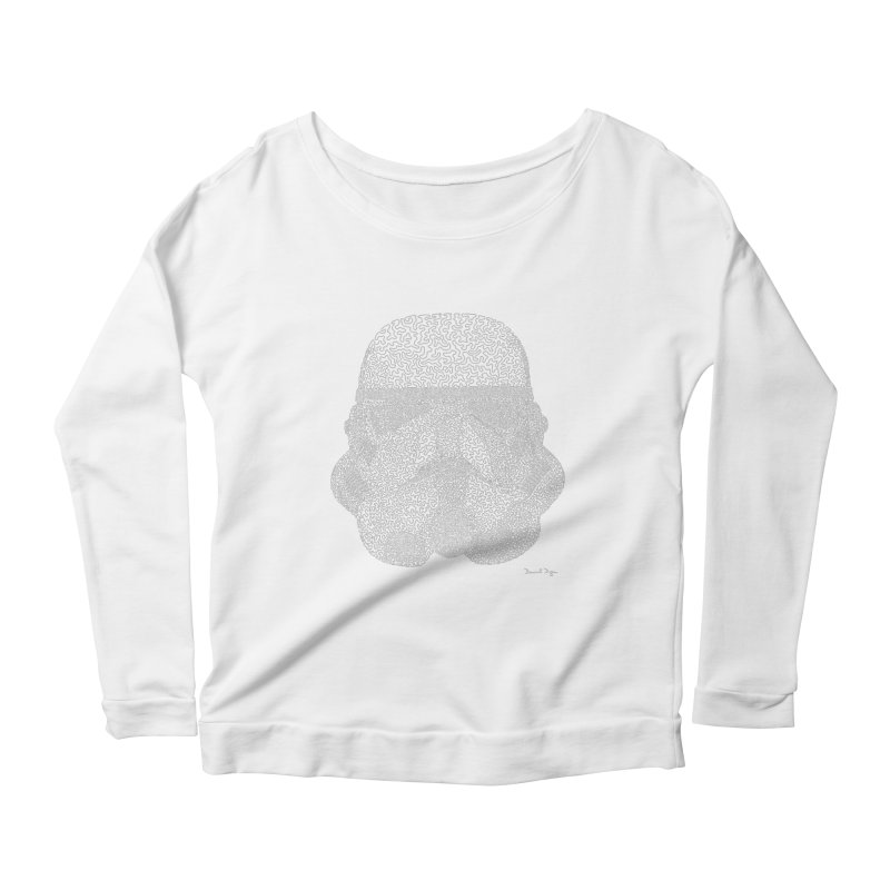 Trooper WHITE - One Continuous Line Women's Scoop Neck Longsleeve T-Shirt by Daniel Dugan's Artist Shop