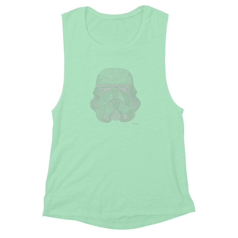 Trooper WHITE - One Continuous Line Women's Muscle Tank by Daniel Dugan's Artist Shop