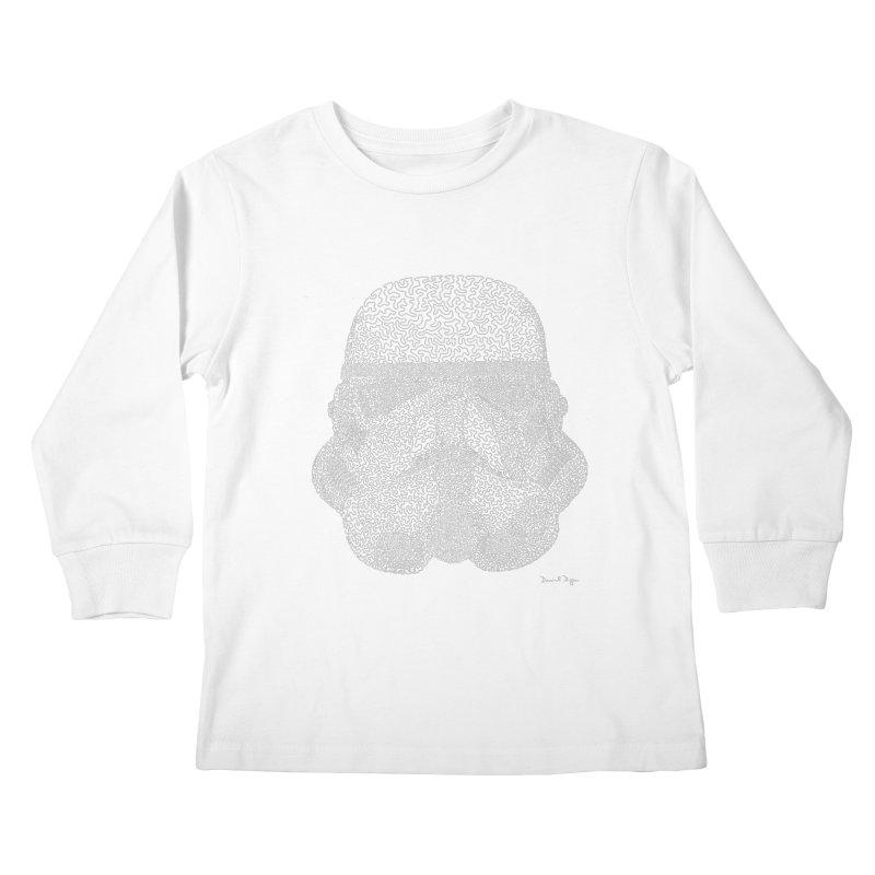 Trooper WHITE - One Continuous Line Kids Longsleeve T-Shirt by Daniel Dugan's Artist Shop