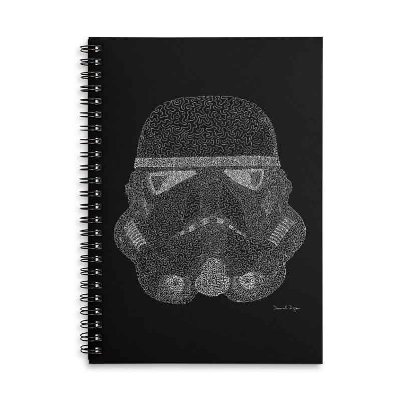 Trooper WHITE - One Continuous Line Accessories Lined Spiral Notebook by Daniel Dugan's Artist Shop