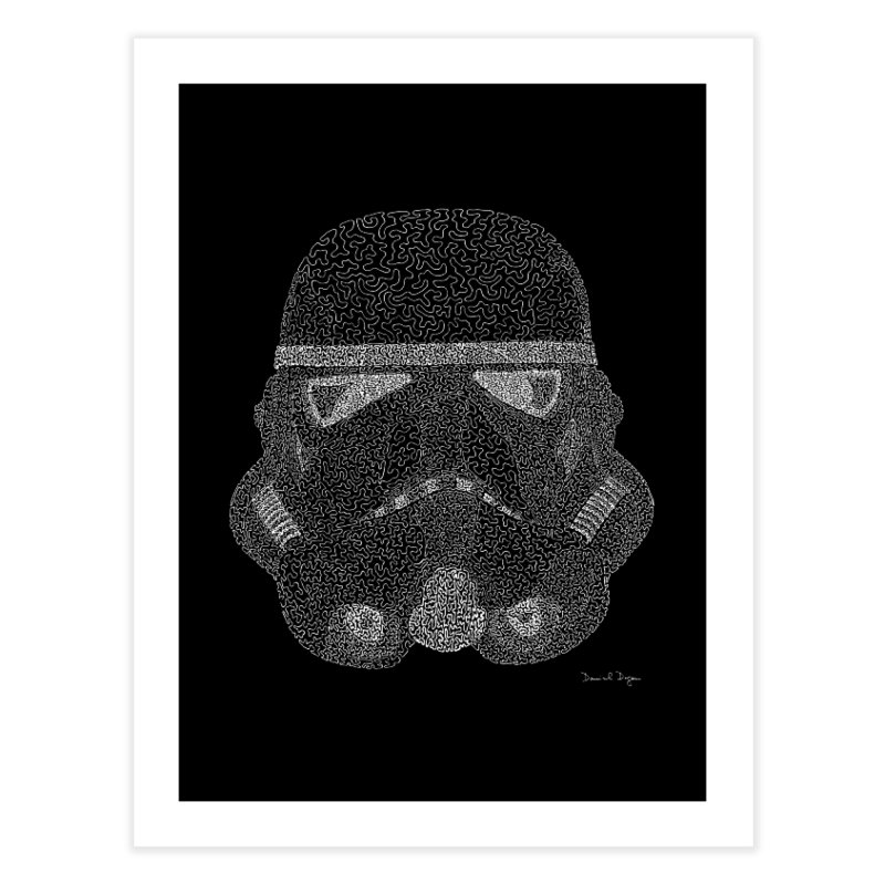 Trooper WHITE - One Continuous Line Home Fine Art Print by Daniel Dugan's Artist Shop