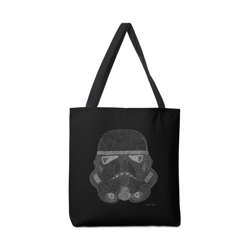 Trooper WHITE - One Continuous Line Accessories Tote Bag Bag by Daniel Dugan's Artist Shop