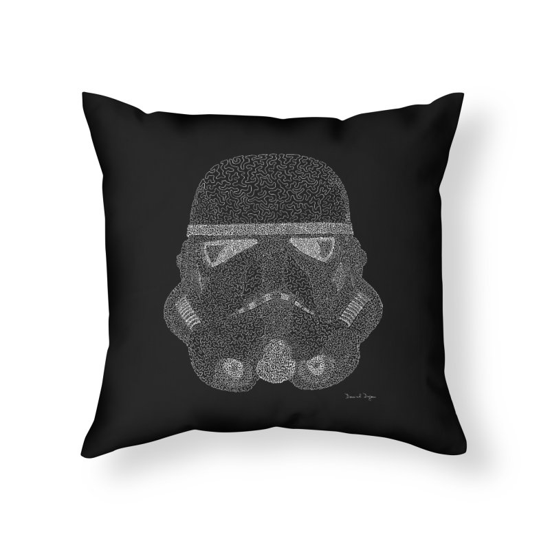 Trooper WHITE - One Continuous Line Home Throw Pillow by Daniel Dugan's Artist Shop