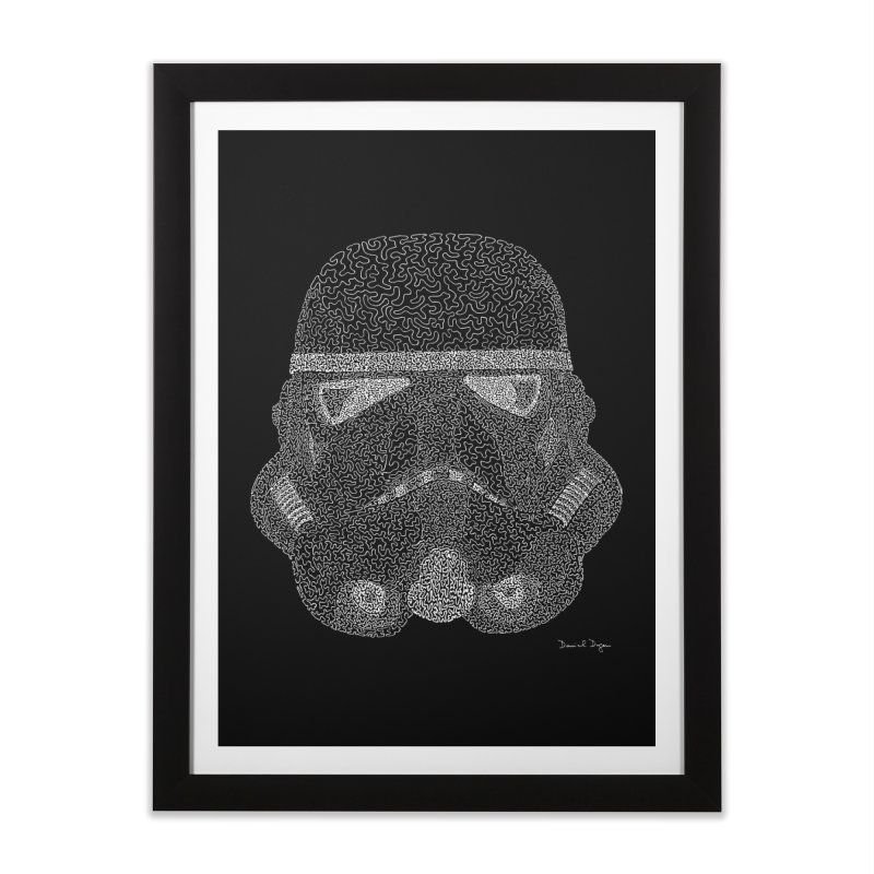 Trooper WHITE - One Continuous Line Home Framed Fine Art Print by Daniel Dugan's Artist Shop
