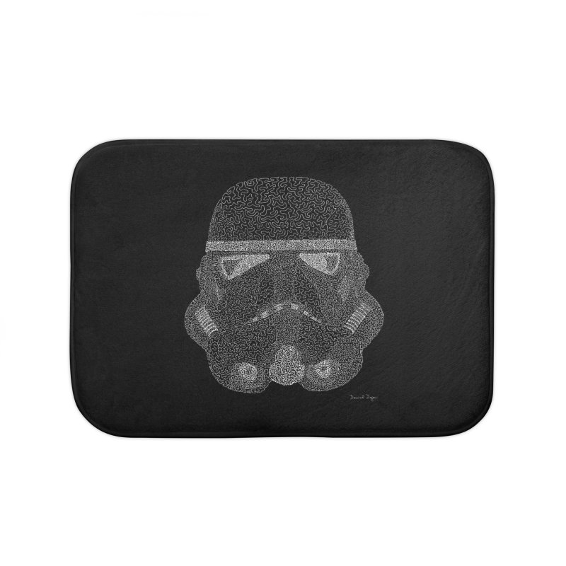 Trooper WHITE - One Continuous Line Home Bath Mat by Daniel Dugan's Artist Shop