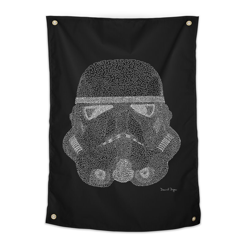 Trooper WHITE - One Continuous Line Home Tapestry by Daniel Dugan's Artist Shop