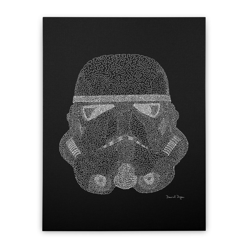 Trooper WHITE - One Continuous Line Home Stretched Canvas by Daniel Dugan's Artist Shop