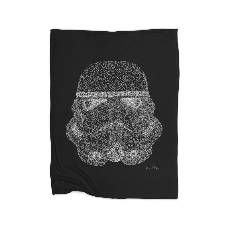 Trooper WHITE - One Continuous Line Home Fleece Blanket Blanket by Daniel Dugan's Artist Shop