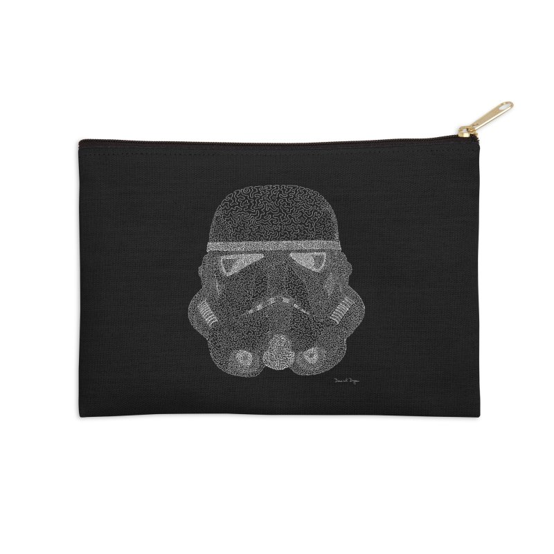Trooper WHITE - One Continuous Line Accessories Zip Pouch by Daniel Dugan's Artist Shop