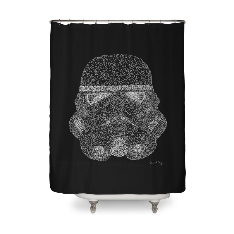 Trooper WHITE - One Continuous Line Home Shower Curtain by Daniel Dugan's Artist Shop