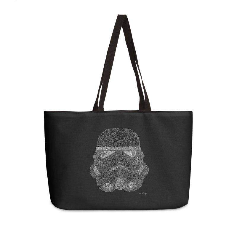 Trooper WHITE - One Continuous Line Accessories Weekender Bag Bag by Daniel Dugan's Artist Shop
