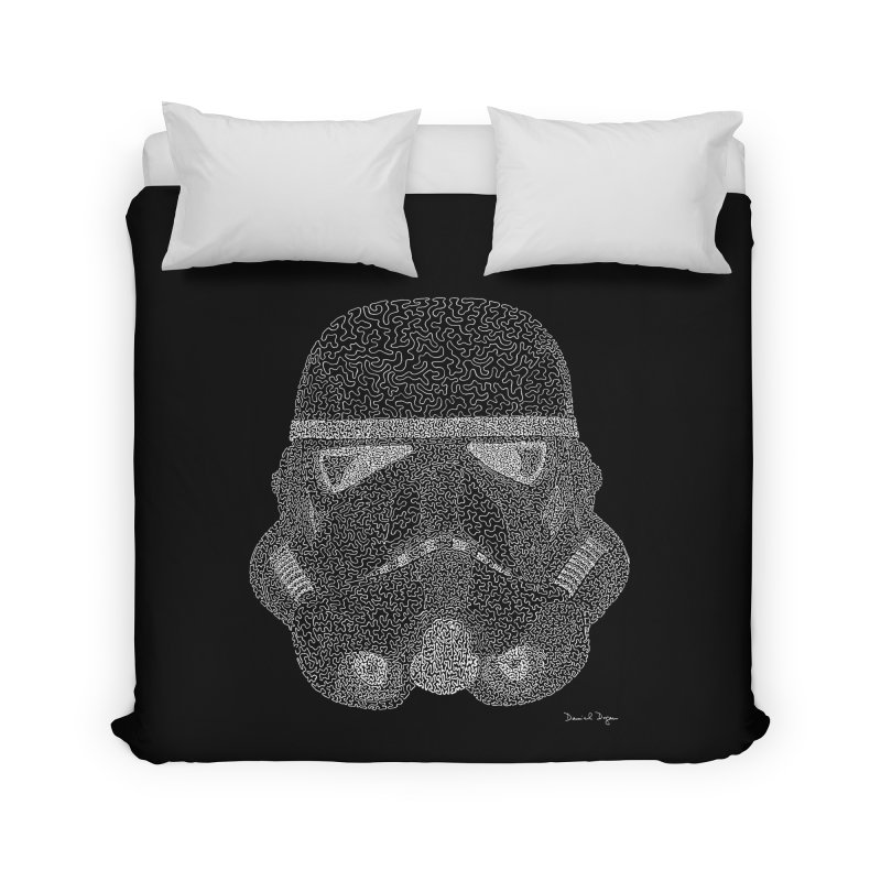 Trooper WHITE - One Continuous Line Home Duvet by Daniel Dugan's Artist Shop