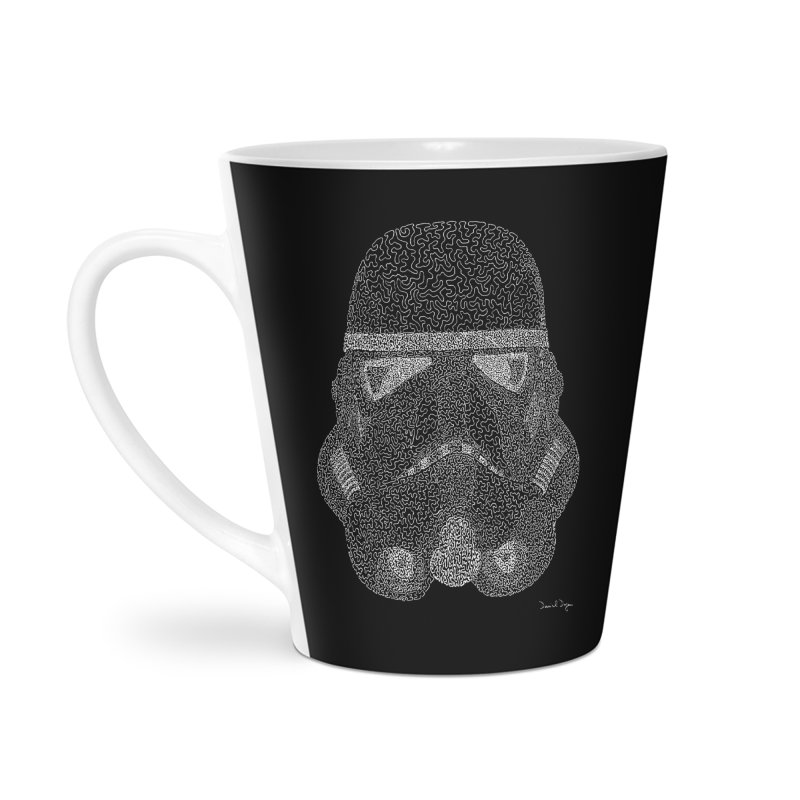 Trooper WHITE - One Continuous Line Accessories Latte Mug by Daniel Dugan's Artist Shop