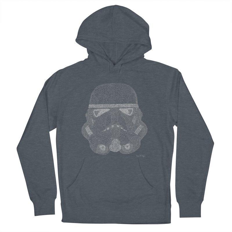 Trooper WHITE - One Continuous Line Women's French Terry Pullover Hoody by Daniel Dugan's Artist Shop