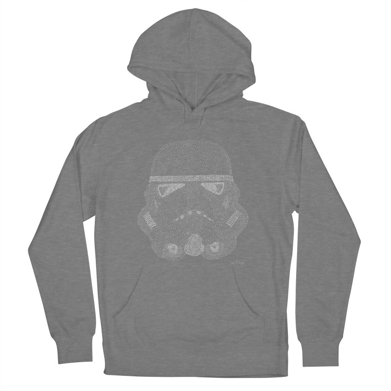 Trooper WHITE - One Continuous Line Men's French Terry Pullover Hoody by Daniel Dugan's Artist Shop