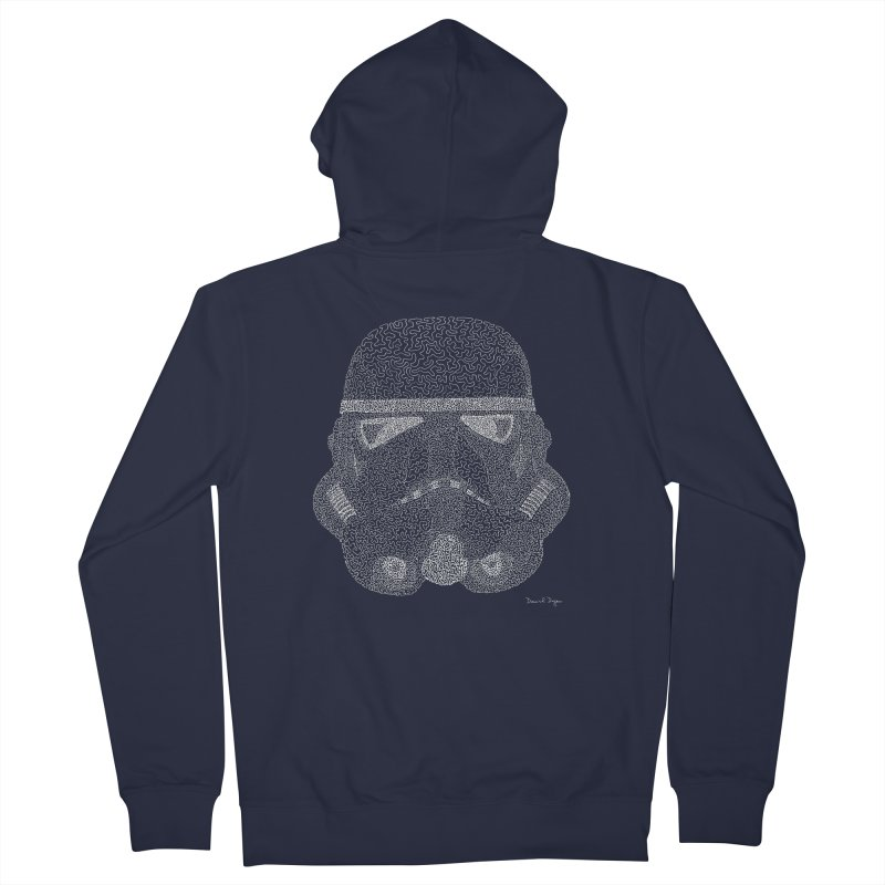 Trooper WHITE - One Continuous Line Women's French Terry Zip-Up Hoody by Daniel Dugan's Artist Shop