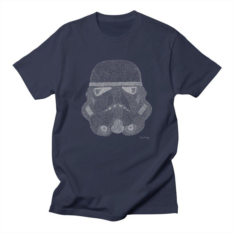 Trooper WHITE - One Continuous Line Women's Regular Unisex T-Shirt by Daniel Dugan's Artist Shop