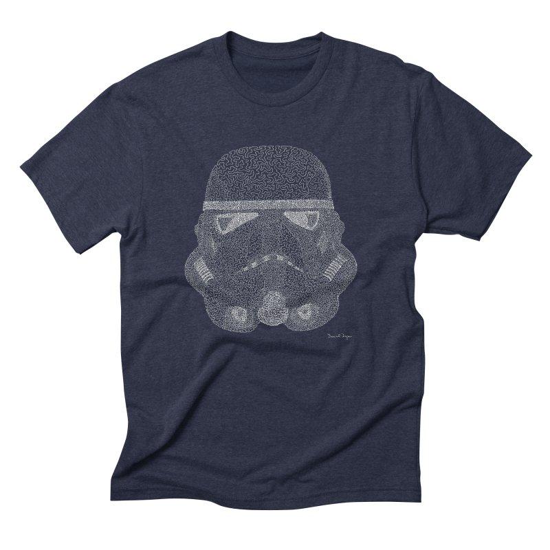 Trooper WHITE - One Continuous Line Men's Triblend T-Shirt by Daniel Dugan's Artist Shop