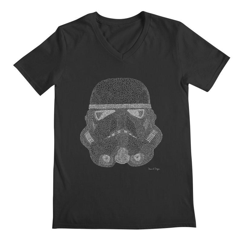 Trooper WHITE - One Continuous Line Men's Regular V-Neck by Daniel Dugan's Artist Shop
