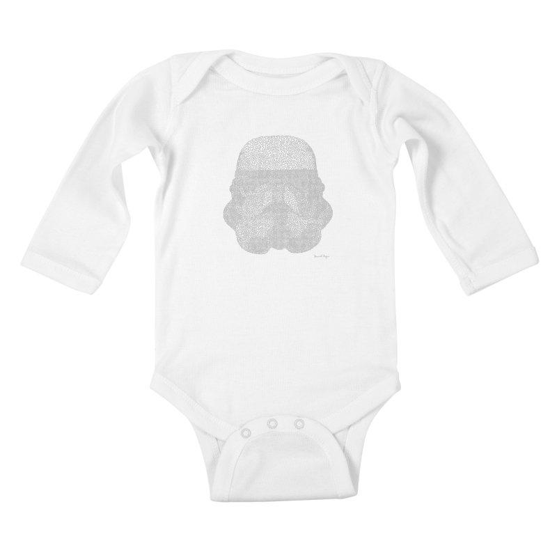 Trooper WHITE - One Continuous Line Kids Baby Longsleeve Bodysuit by Daniel Dugan's Artist Shop